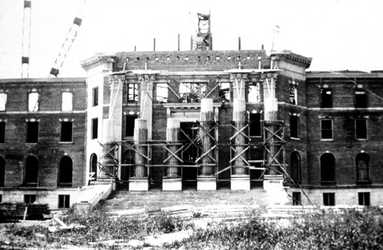 Dallas Hall at SMU under construction