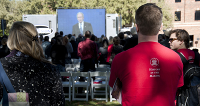 SMU students watching a simulcast of the Bush Presidential Center groundbreaking