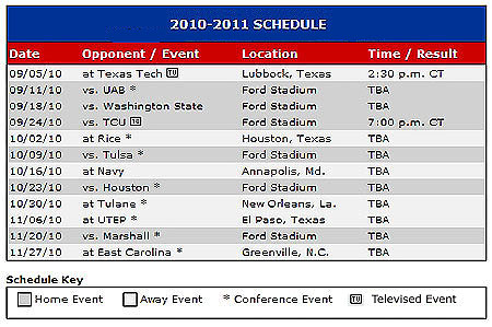 SMU's 2010 Football Schedule
