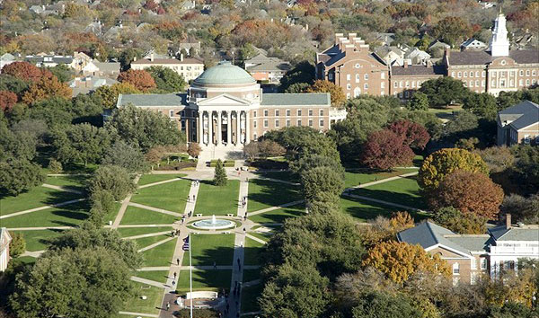 Arial view of Dallas Hall at SMU