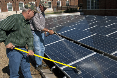 Cleaning solar array at SMU