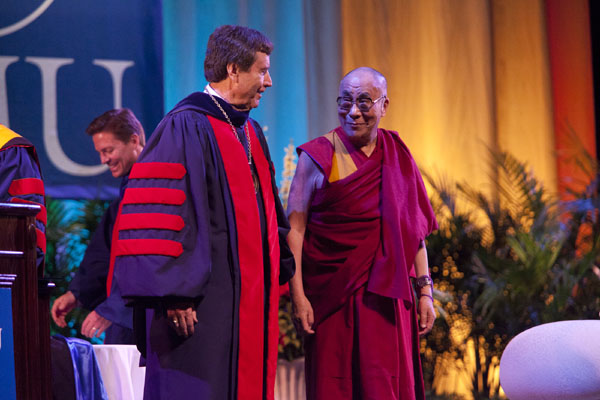 The Dalai Lama and SMU President R. Gerald Turner
