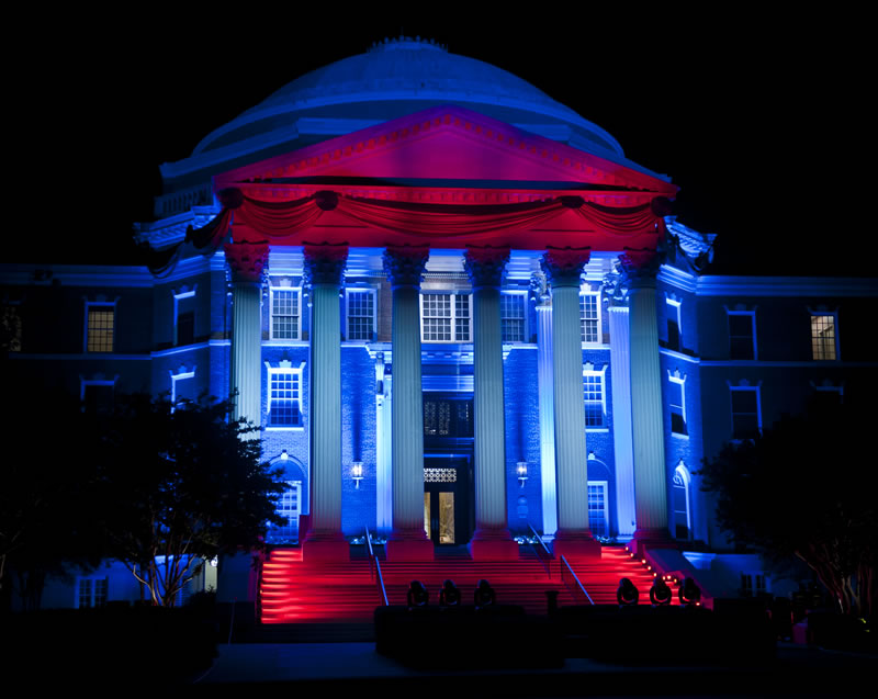 Lighting the Dome of Dallas Hall at SMU