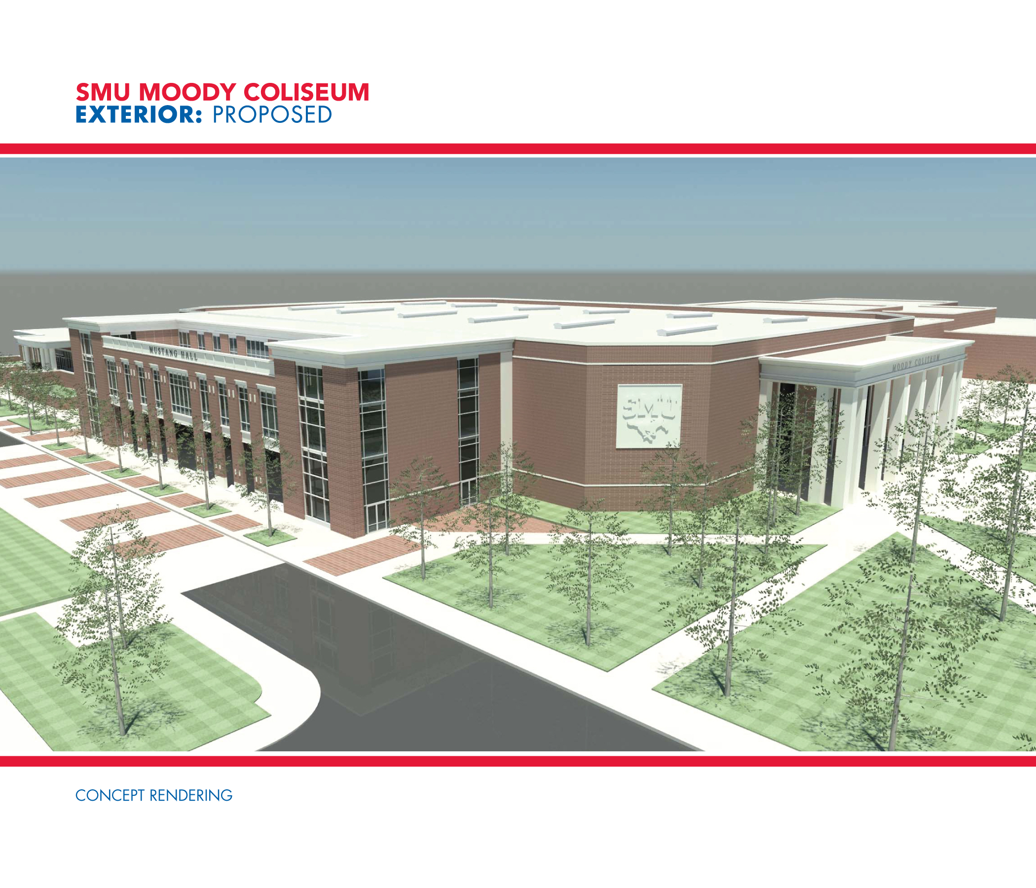 Rendering of the Exterior for SMU's Moody Coliseum