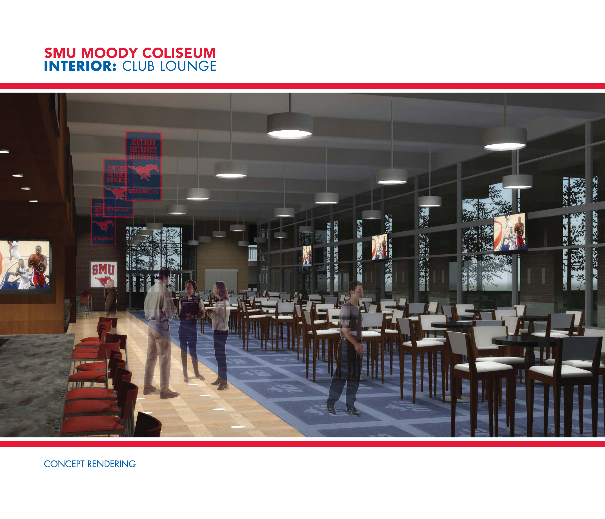Rendering of the Interior Club Lounge for SMU's Moody Coliseum