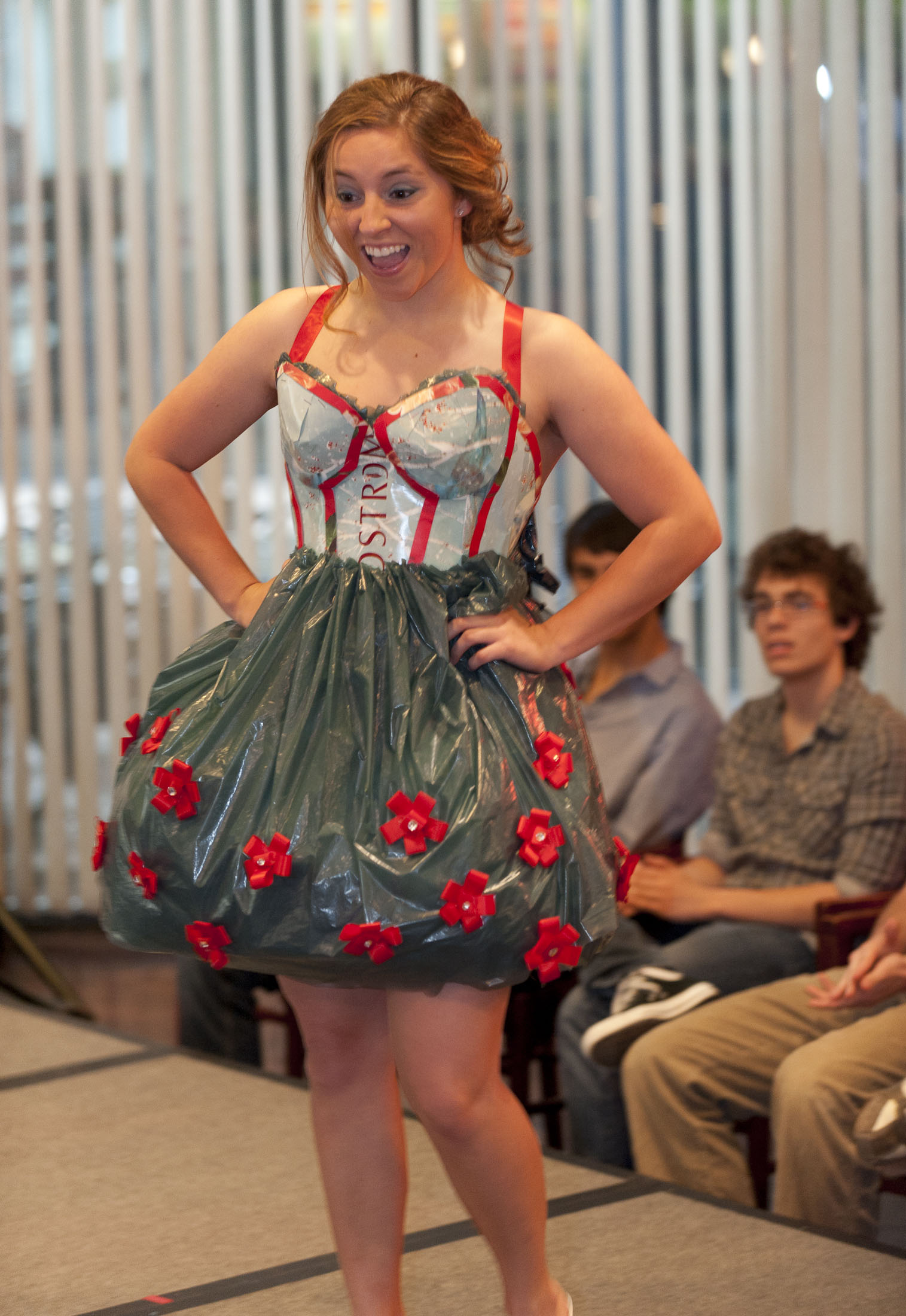 First-year business student Blaire Bogard graces the catwalk with this bubble dress made by Alessandra Shultz, also a first-year business student.