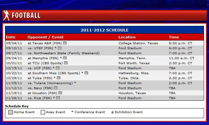 SMU Mustangs Football Schedule 2011 - updated 02 August 2011