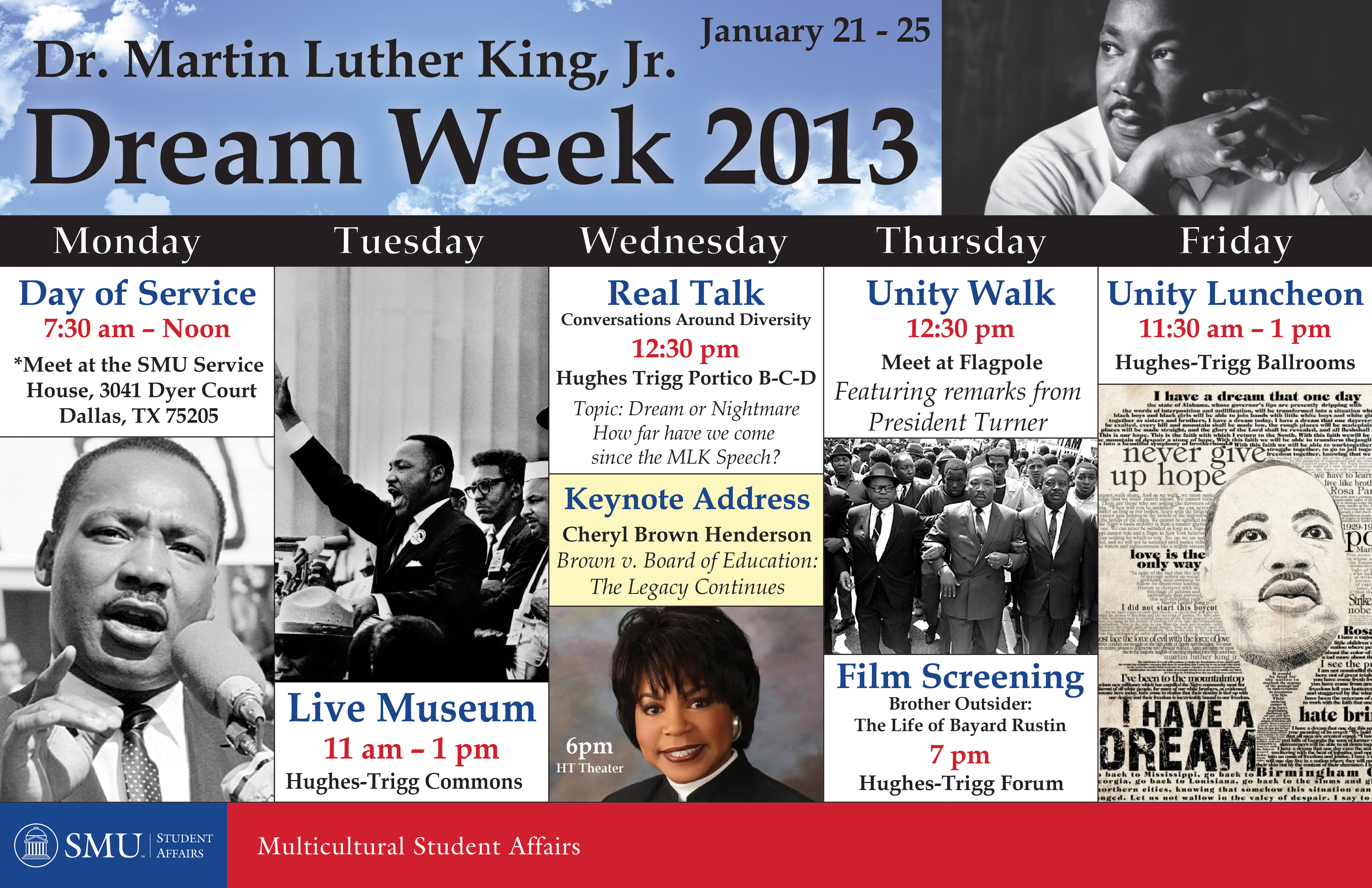 Poster for MLK Week 2012 at SMU