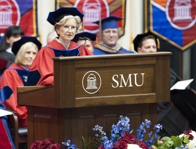 Caren Prothro speaks at SMU December 2012 Graduation