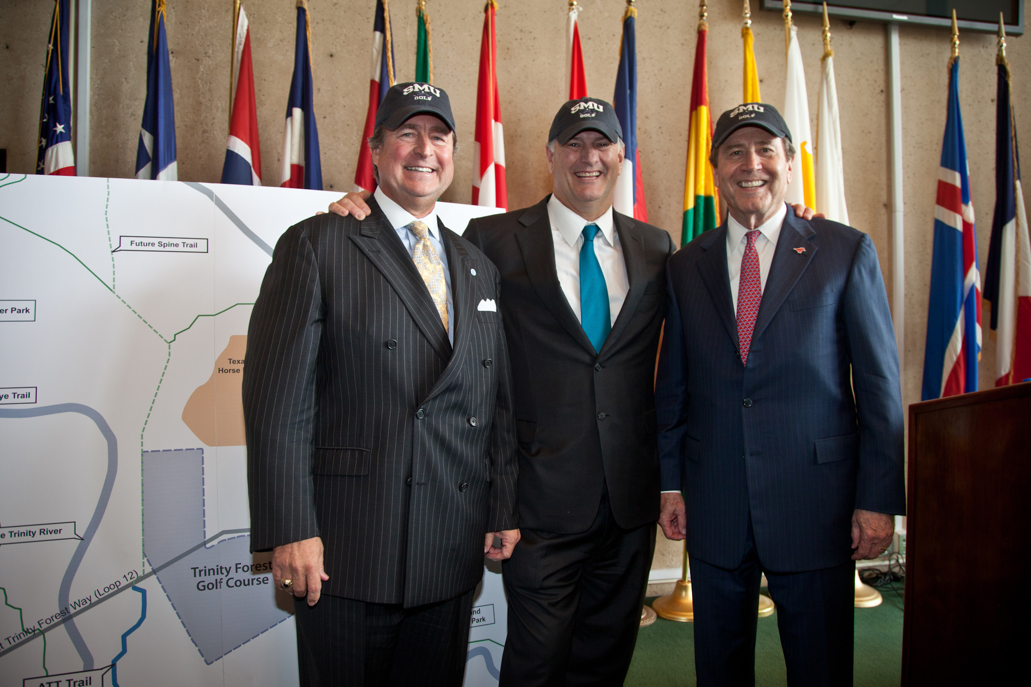 Ron Spears of AT&T, Dallas Mayor Mike Rawlings, and SMU President R. Gerald Turner