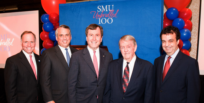 SMU Vice President Brad E Cheves, SMU Trustee Scott McLean, SMU President R Gerald Turner, Houston business leader W. Yandell 'Tog' Rogers Jr and SMU Law School Dean John B Attanasio