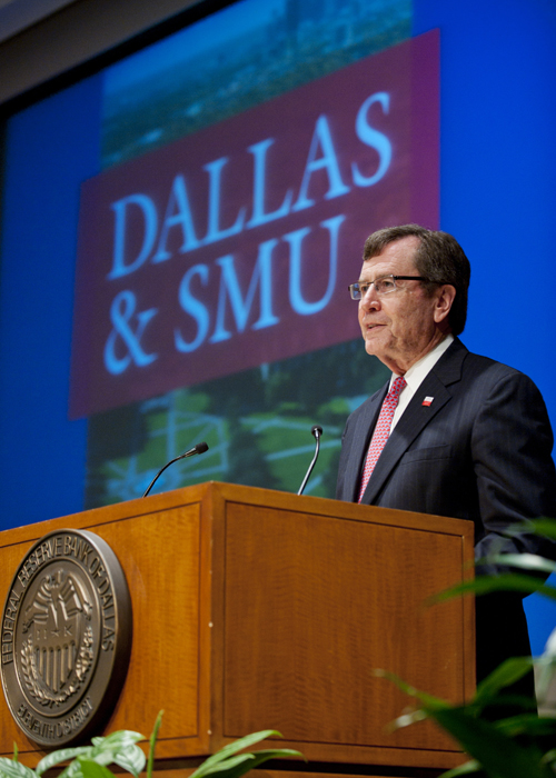 SMU President R. Gerald Turner speaks at the Federal Reserve Bank of Dallas on 17 April 2012.