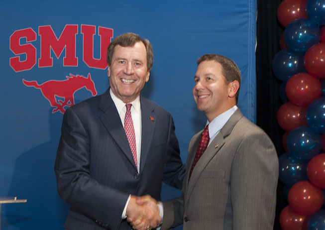 New SMU Director of Athletics Rick Hart with SMU President R. Gerald Turner