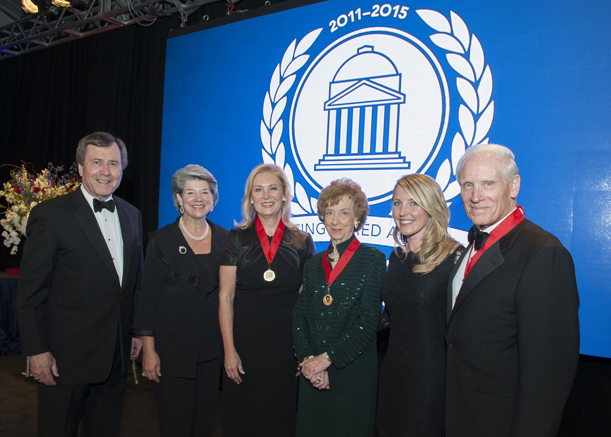 (left to right) SMU President R. Gerald Turner, SMU Alumni Board Chair Leslie Melson, Peggy Higgins Sewell, Jeanne Roach Johnson, Brittany Merrill Underwood, and Jody Grant.