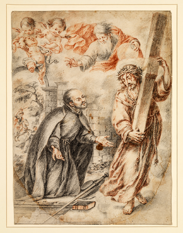 Juan Valdés Leal (Spanish, 1622-1690), Apparition of Christ to Saint Ignatius on the Road to Rome, 1660-64. Black and red chalk on paper. Meadows Museum, SMU, Dallas. Museum Purchase with funds generously provided by Friends and Supporters of the Meadows Museum,