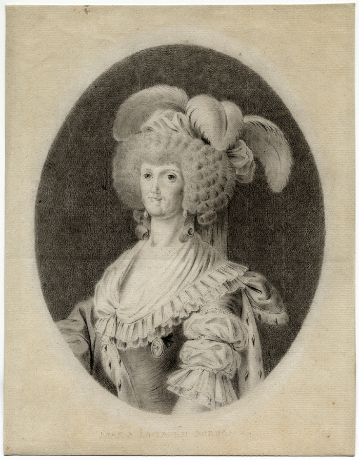 Antonio Carnicero (Spanish, 1748-1814), María Luisa de Parma, Queen of Spain, 1789. Chalk on paper. Meadows Museum, SMU, Dallas. Museum Purchase with funds generously provided by a Challenge Grant by the Gill Family in honor of their daughter, Anju Gill