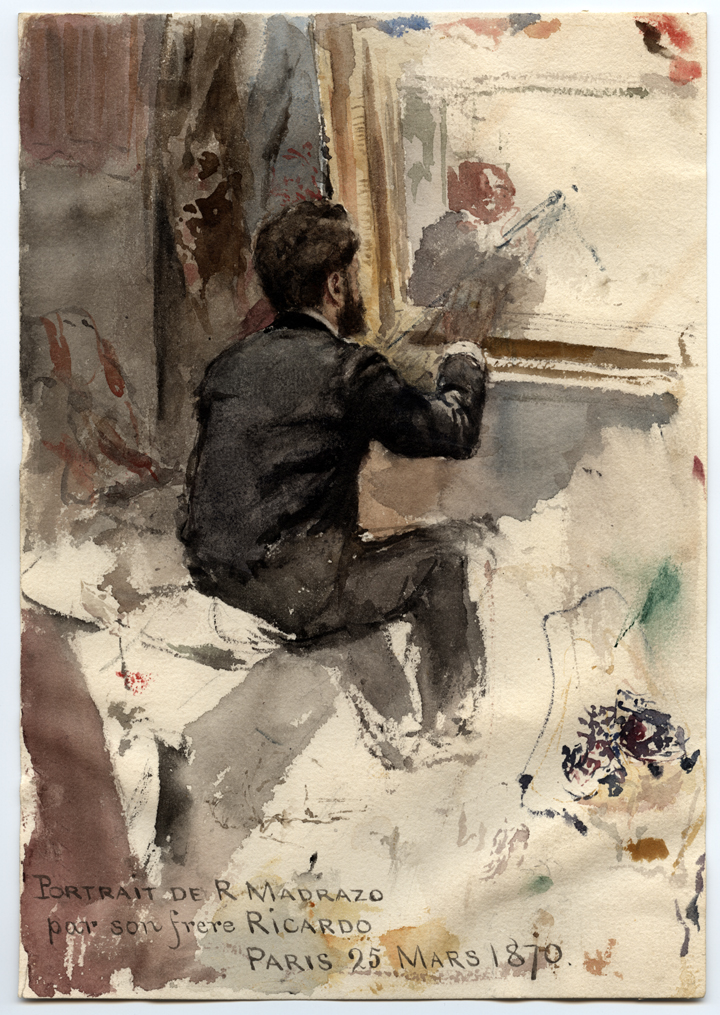 "Ricardo de Madrazo y Garreta (1852-1917), ""Portrait de R Madrazo par son frère Ricardo, Paris 25 mars 1870,"" Watercolor on paper, 6 15/16 x 9 15/16 in, from The Stewart Album, 2nd Half of the 19th Century, Meadows Museum, SMU, Dallas. Museum Purchase Thanks to a Gift from The Eugene McDermott Foundation and Ms. Jo Ann Geurin Thetford"