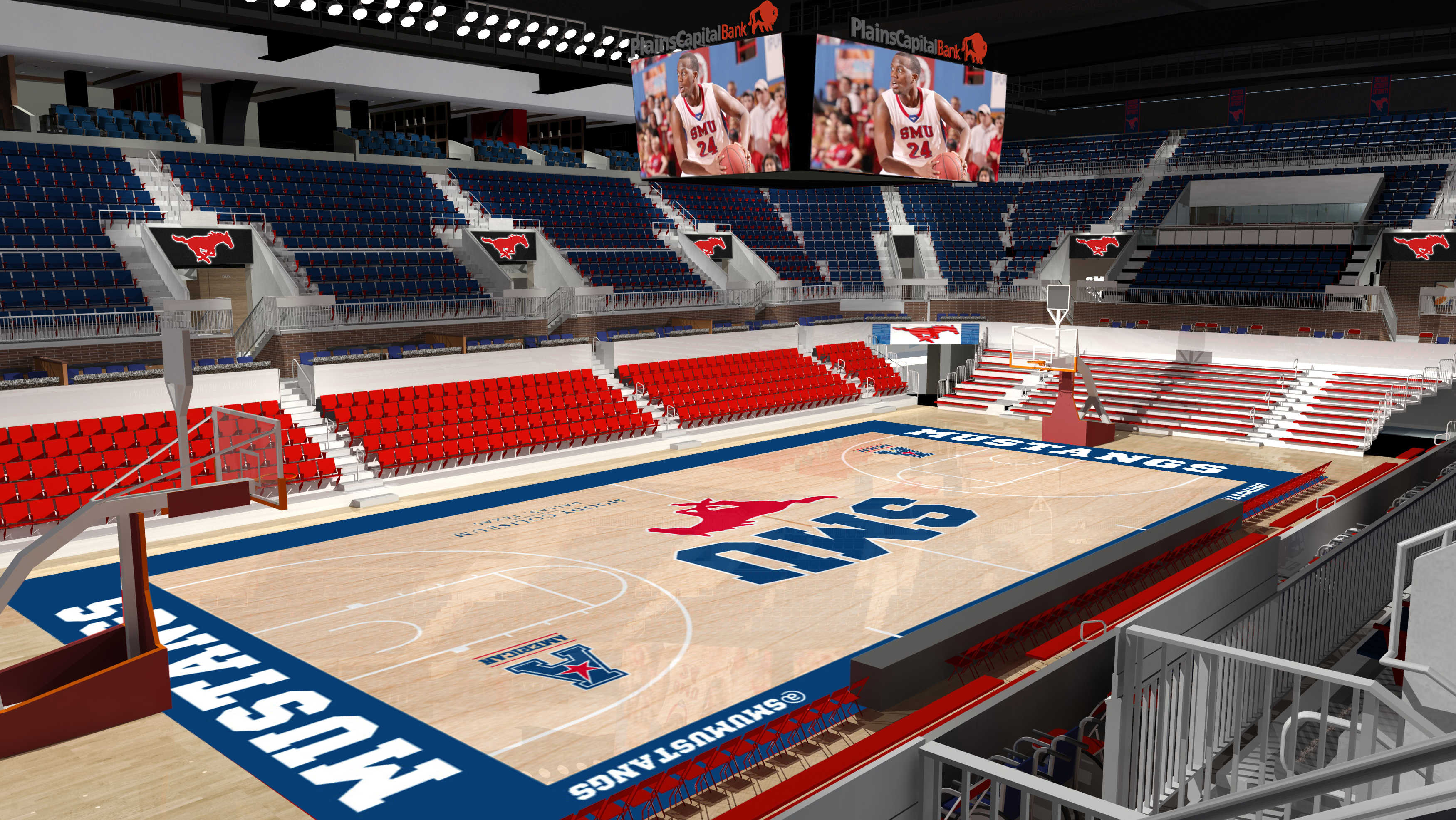 Artist's rendering of the new floor in SMU's renovated Moody Coliseum
