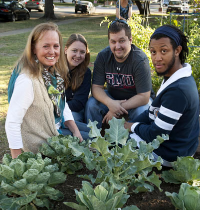 Professor Elaine Heath, Katrina Culberson, Benjamin Bagley and Larry Crudup at SMU's Community Garden