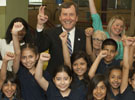 SMU President R. Gerald Turner with students at the announcement of the Dallas Mayor's Reading Club
