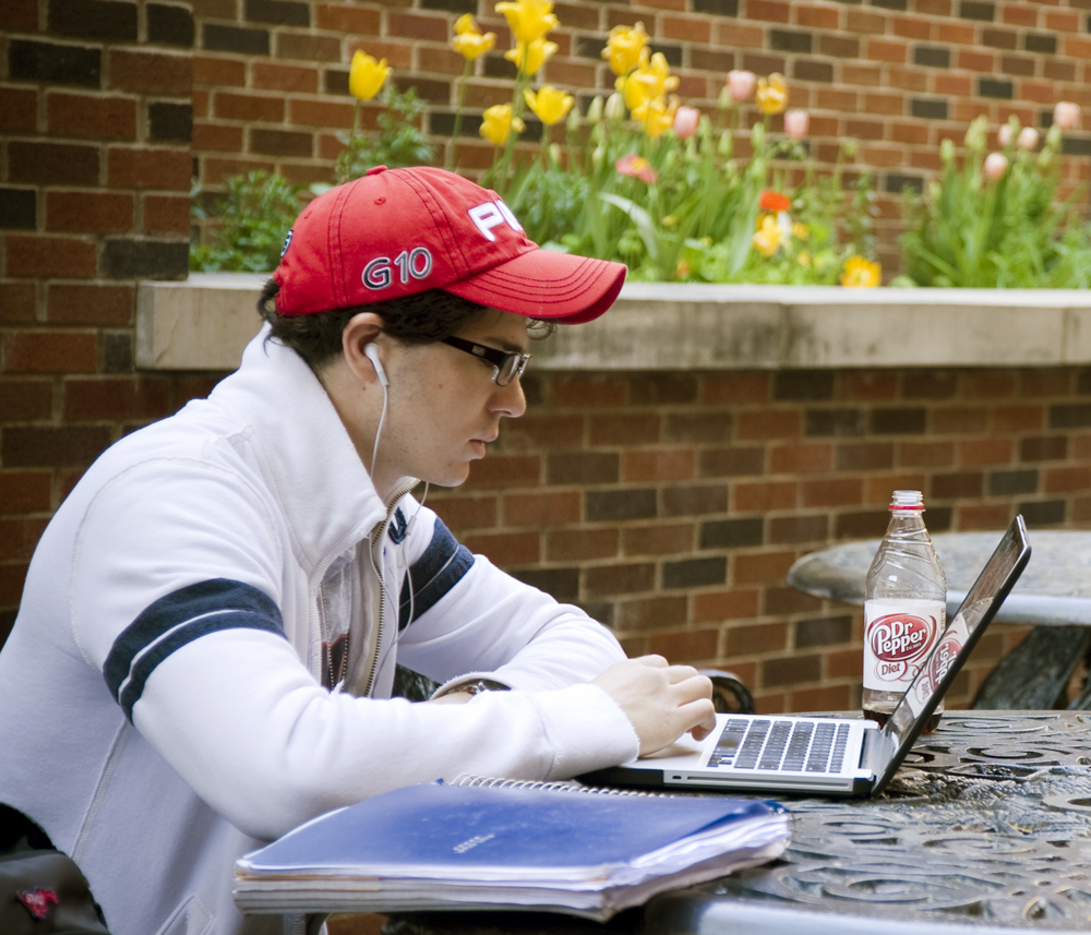 SMU Student Studying