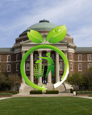 Dallas Hall with recycle symbol