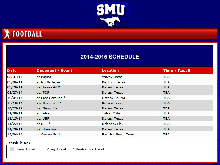 SMU Football Schedule 2014-2015