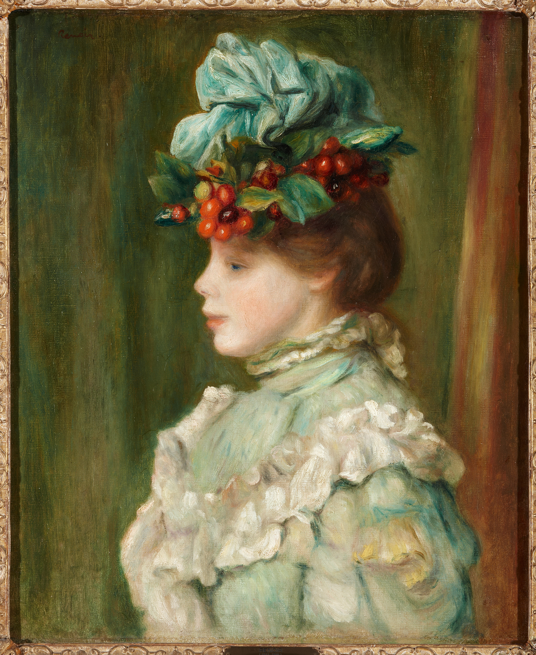 Pierre Auguste Renoir (French, 1841-1919), Girl with Hat with Cherries, 1880. Oil on canvas. Colección Duques de Alba, Palacio de Liria, Madrid.
