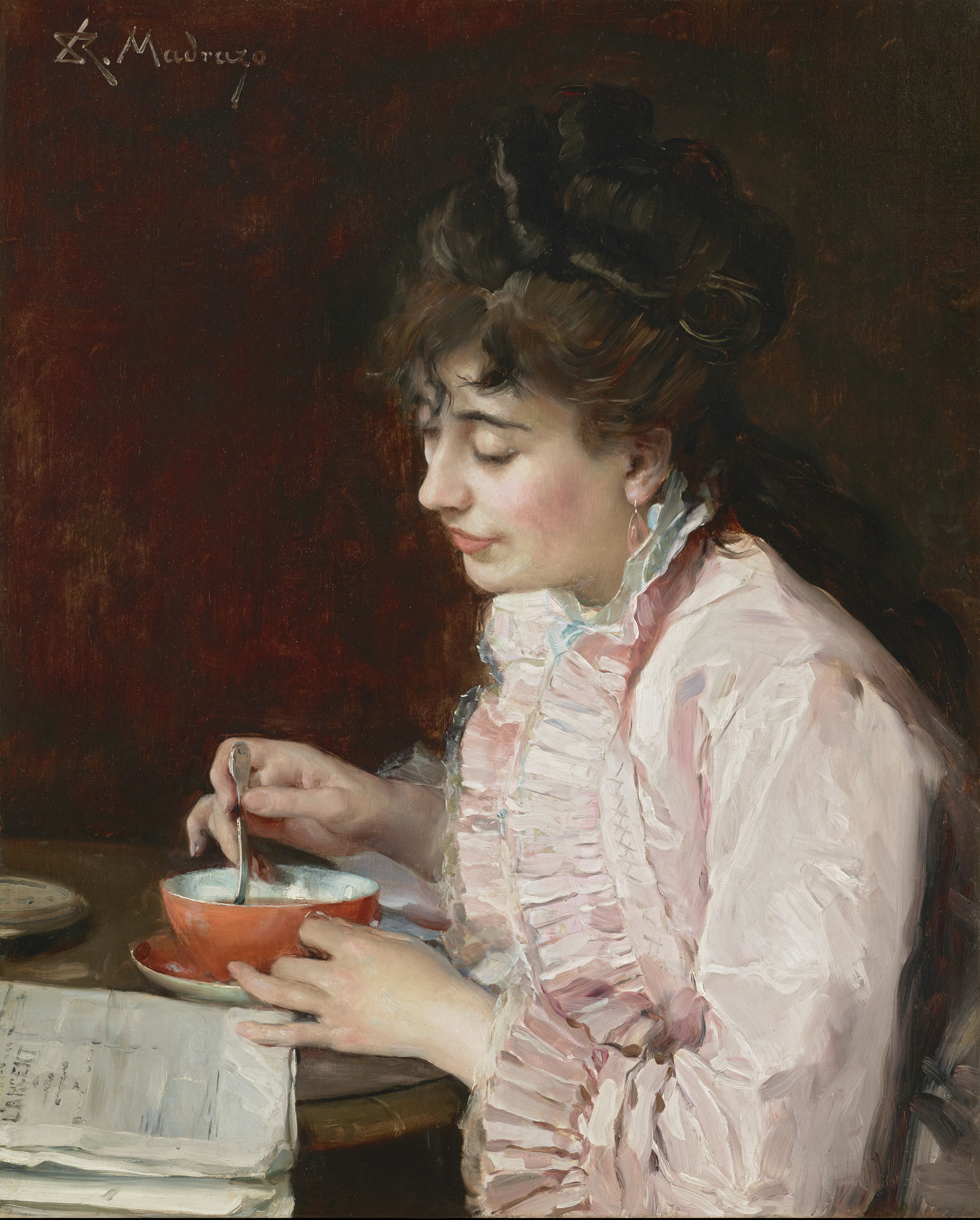 Raimundo de Madrazo y Garreta (Spanish, 1841-1920), Portrait of a Lady, 1890-91. Oil on cradled panel. Meadows Museum, SMU, Dallas. Museum Purchase thanks to a gift from Mrs. Mildred M. Oppenheimer in memory of Dean Carole Brandt, MM.2014.02. Photo by Michael Bodycomb