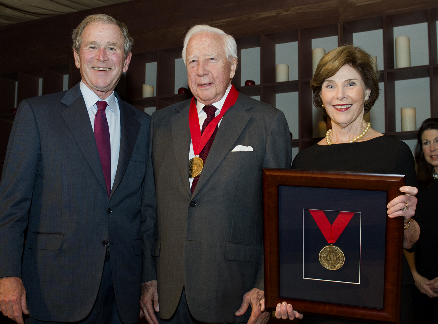 Historian David McCullough with President George Bush and Laura Bush