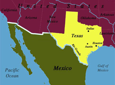 Texas-Mexico Map courtesy of Hispanically Speaking News