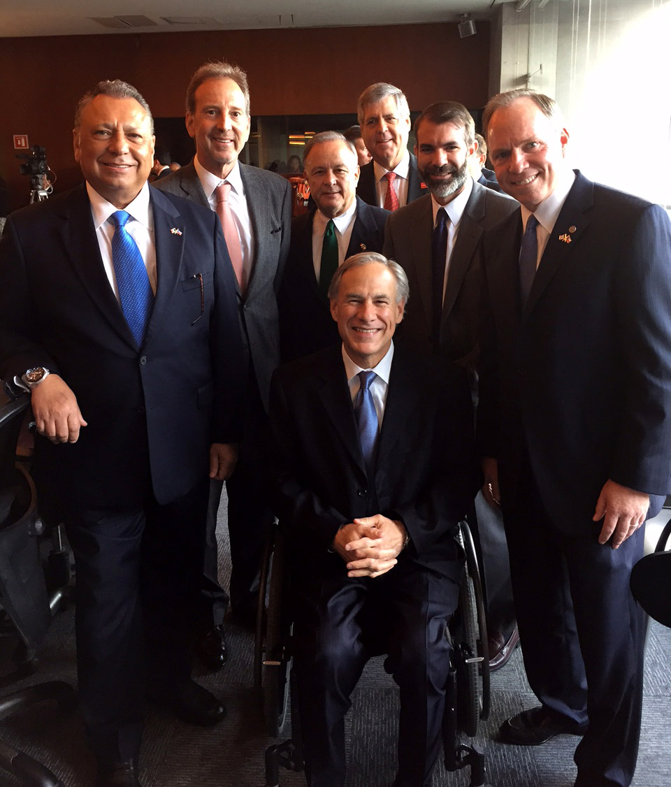 Gov. Greg Abbott at Tuesday's ceremony to launch the SMU program in Mexico City, surrounded by dignitaries from SMU and Mexico.