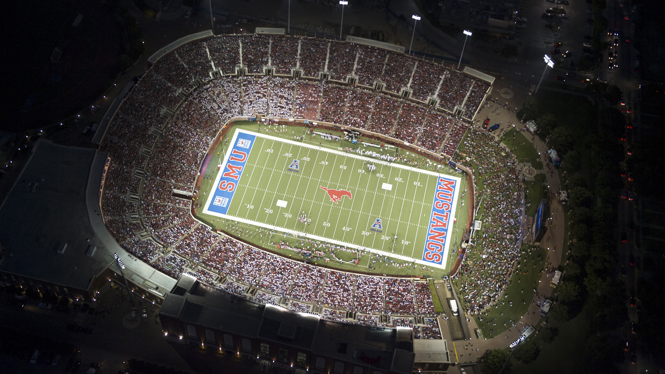 SMU's Ford Stadium at night