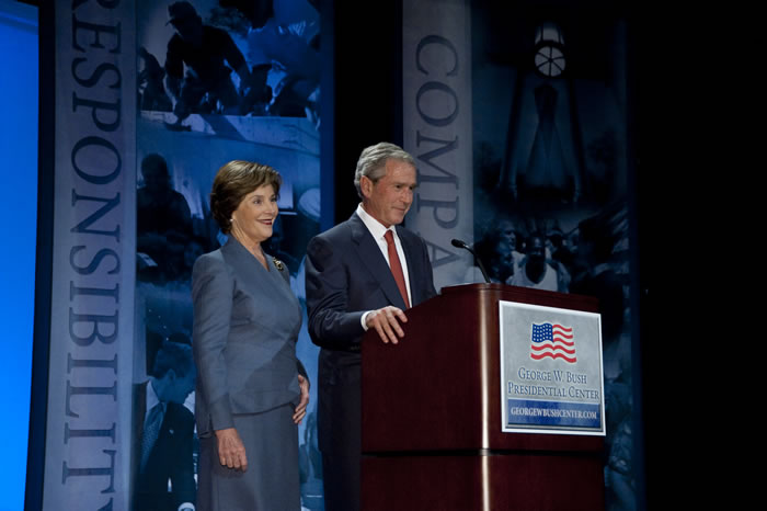 Former President Bush and former First Lady Laura Bush defined the focus of the George W. Bush Institute at an address at SMU.