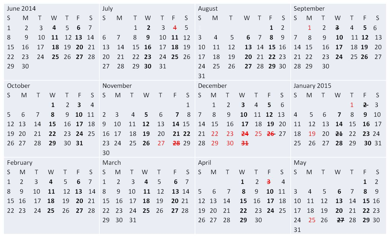 Accounts Payable Check Run Calendar Fiscal Year 2014 - 2015