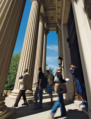 Students Walking With Columns