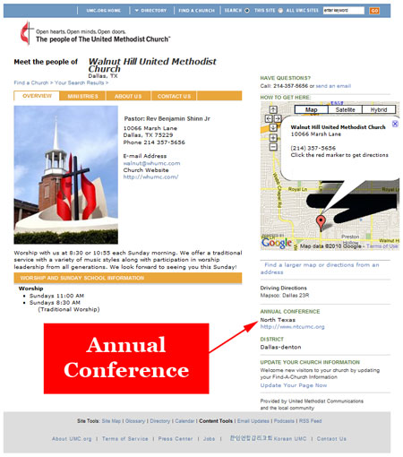 Locate your Annual Conference in the Find-a-Church System