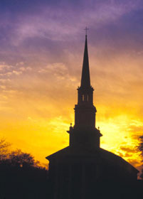 Perkins Chapel at sunset