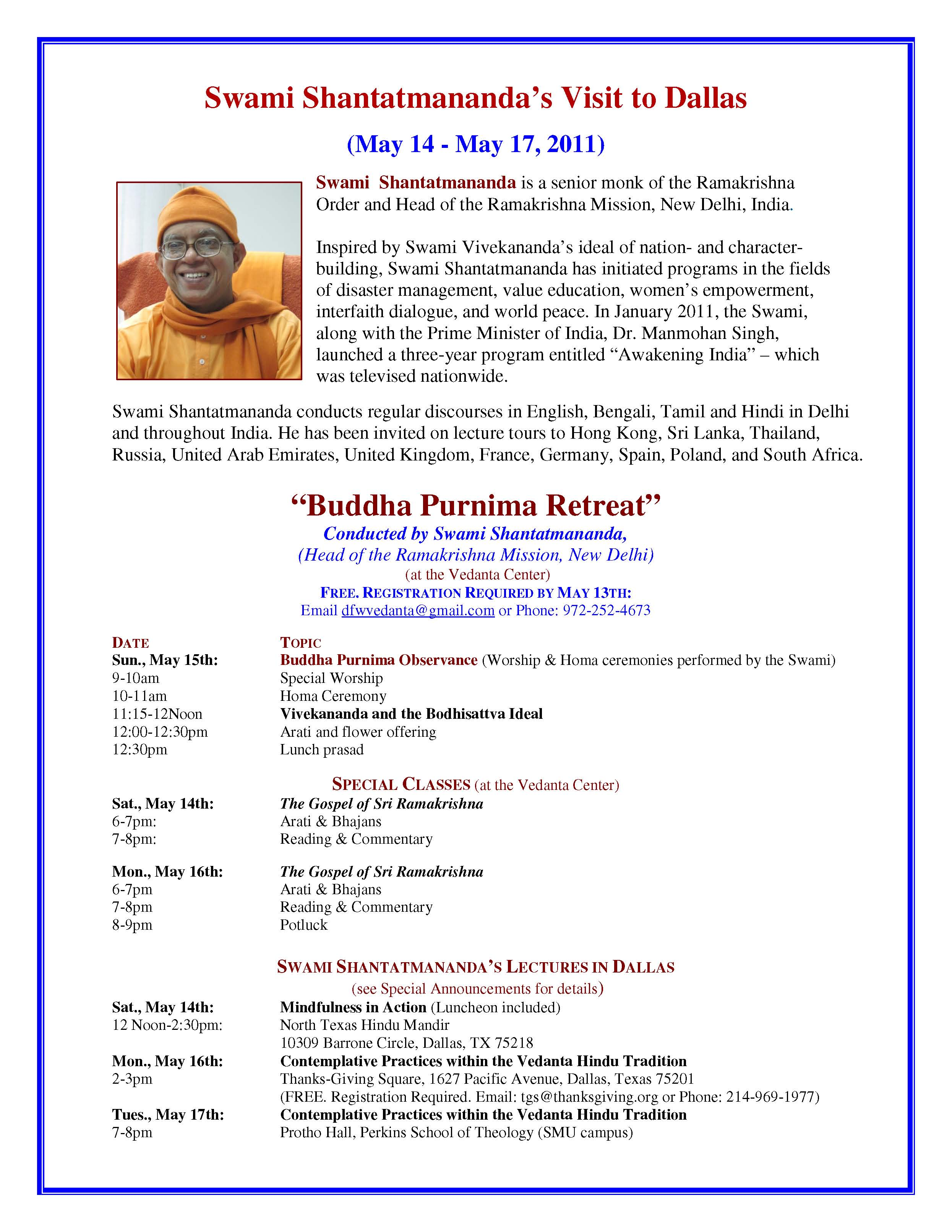 Image of Poster - Swami Shantatmananda Visit to Perkins on May 17, 2011
