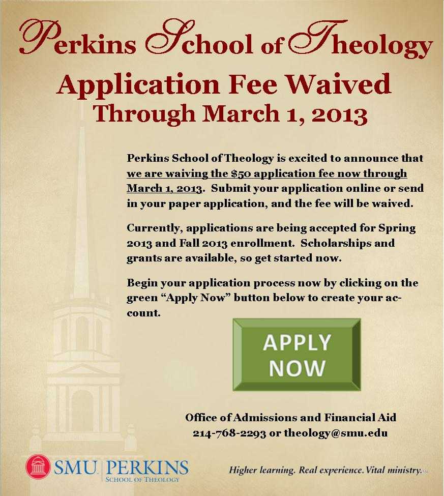 Image: Application Fee Waived for Perkins School of Theology, Southern Methodist University