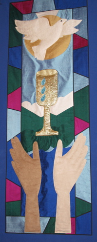 Banner with dove, cup, hands
