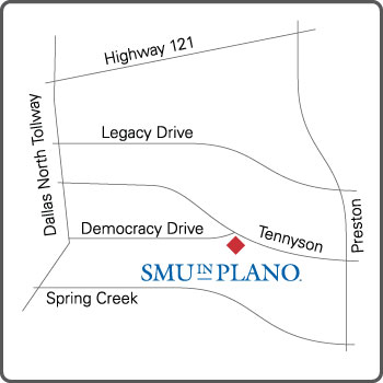 Map of Plano showing campus location